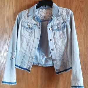 Jessica Simpson distressed jean jacket